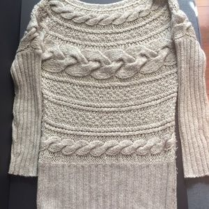 Beige Cable-Knit Long Sweater